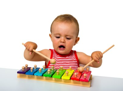 Toddler Playing Xylophone